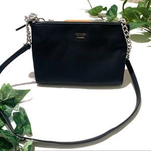 Guess Black Silver Chain Detail Purse Crossbody